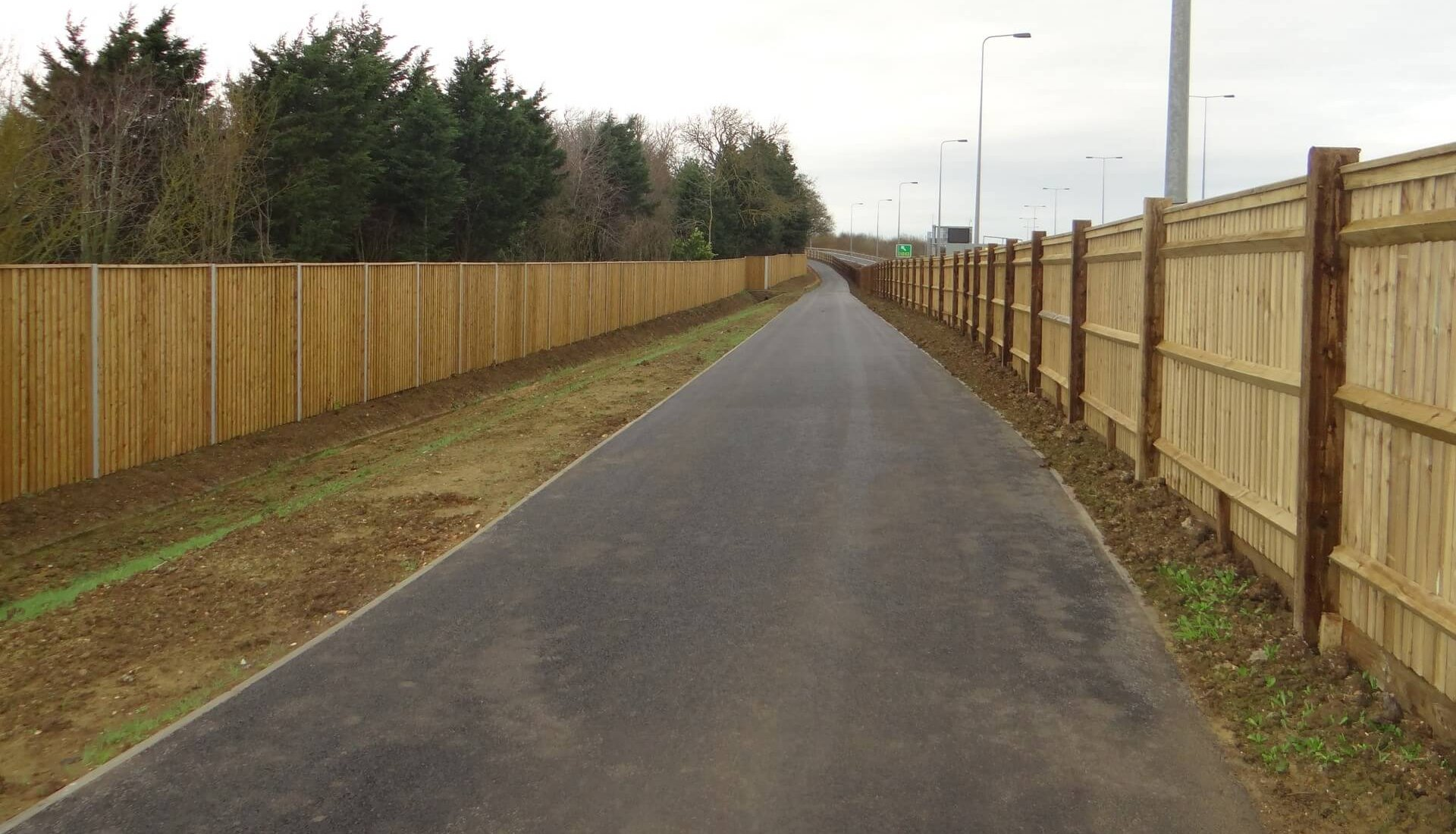A14 Cambridge to Huntingdon Fence Noise Barrier  and Close Boarded Fence